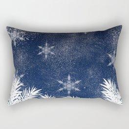 Winter white snow pine trees navy blue Christmas Rectangular Pillow