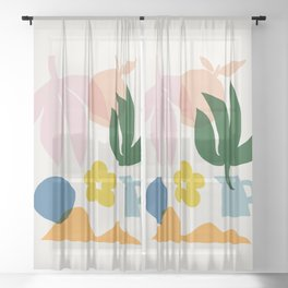 Abstraction_Floral_002 Sheer Curtain