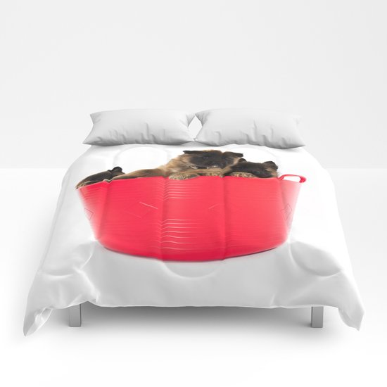 Three puppies in red laundry basket Comforters