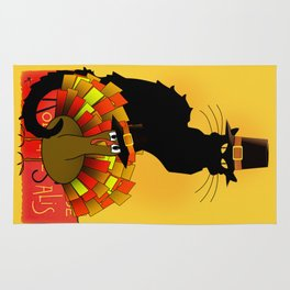 Thanksgiving Le Chat Noir With Turkey Pilgrim Rug