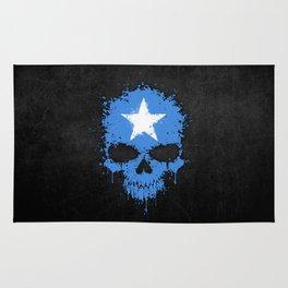 Flag of Somalia on a Chaotic Splatter Skull Rug