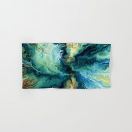 Marbled Ocean Abstract, Navy, Blue, Teal, Green Hand & Bath Towel