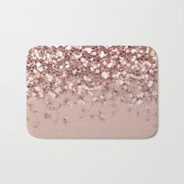Glam Rose Gold Pink Glitter Gradient Sparkles Bath Mat