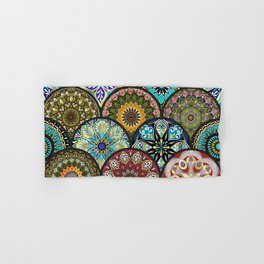 Colorful floral seamless pattern from circles with mandala in patchwork boho chic style Hand & Bath Towel