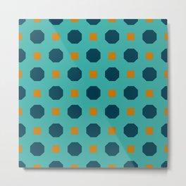 Vintage geometric on blue Metal Print