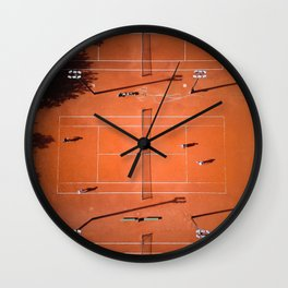 Tennis court orange Wall Clock
