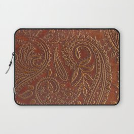 Rusty Tooled Leather Laptop Sleeve