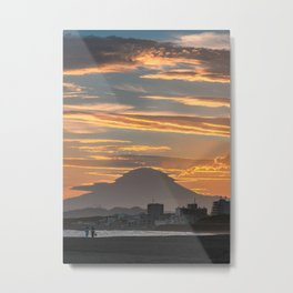 Sunset on Chigasaki Beach with Mount Fuji Metal Print
