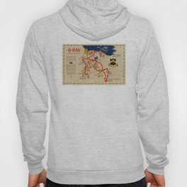 Vintage Omaha Beach D-Day Invasion Map (1945) Hoody