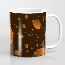 Large brown drops and petals on a dark background in nacre. Coffee Mug