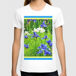 WHITE-BLUE IRIS & FERNS GARDEN T-shirt