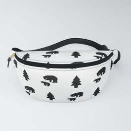 Mama & Baby Bear Pattern: Black & White Fanny Pack