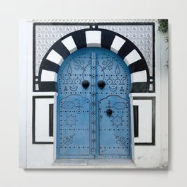 Arabian style door in Sidi Bou Saïd, Tunisia Metal Print