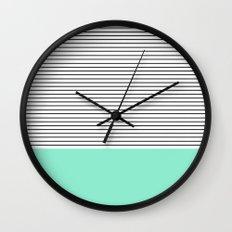 Minimal Mint Stripes Wall Clock