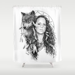 Heather / Black & white Shower Curtain