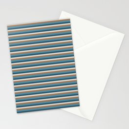 Green, brown stripes Stationery Cards