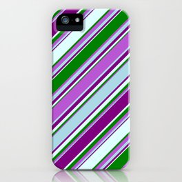 Eye-catching Green, Orchid, Light Blue, Purple & Light Cyan Colored Striped/Lined Pattern iPhone Case