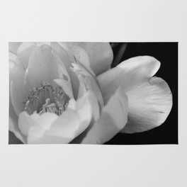Delicate Peony Flower in B&W Rug