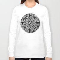 folk Long Sleeve T-shirts featuring Black & White Folk Art Pattern by micklyn