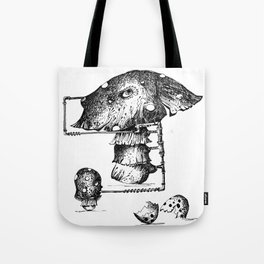 Funy Mushroom Mother Breastfeeding Her Newborn Daughter After Exiting The Egg Grphc Tote Bag
