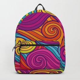 Vivid Whimsical Jewel Tone Retro Wave Print Pattern Backpack