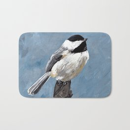 Chickadee Original Acrylic Art on Canvas,Bird Painting, Chickadee Wall Art, Bird on a Branch Bath Mat