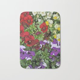 Red Purple Yellow Flowers by Daniel MacGregor Bath Mat