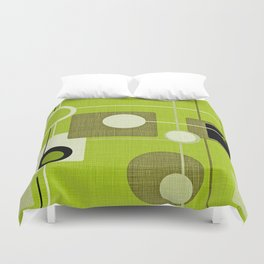 orbs and squares acid green Duvet Cover