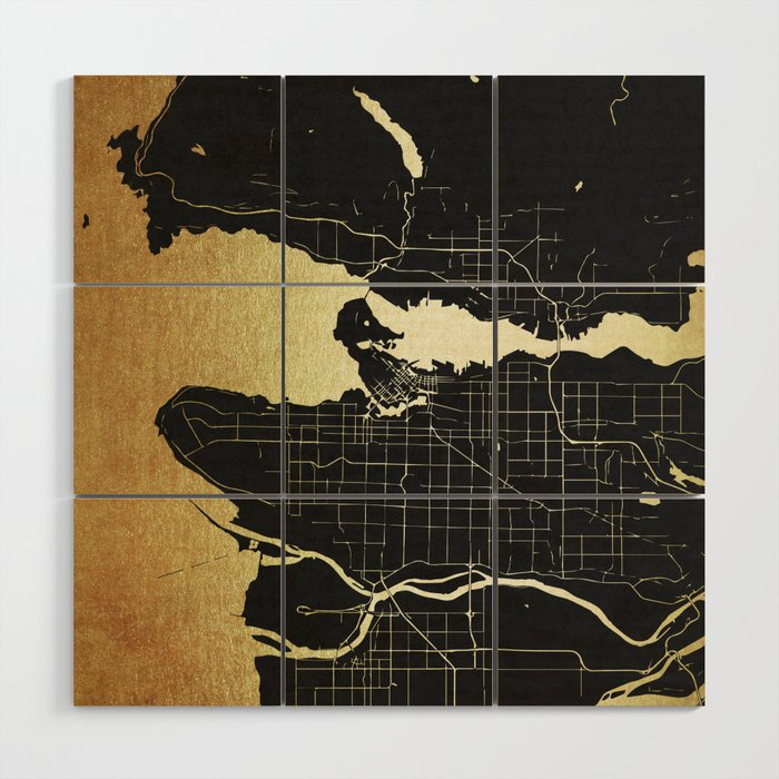 Vancouver Canada Black And Gold Map Wood Wall Art By Mapmaker