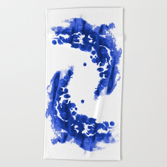 Paint 9 abstract indigo watercolor painting minimal modern canvas affordable dorm college art  Beach Towel