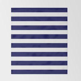 Navy Blue & White Stripes- Mix & Match with Simplicity of Life Throw Blanket