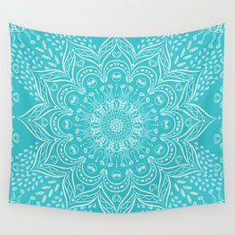 Teal mandala Wall Tapestry