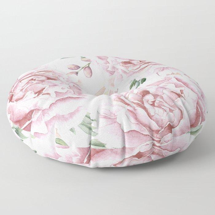 Girly Pastel Pink Roses Garden Floor Pillow