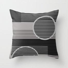 Geometric Minimal - Black & Grey Throw Pillow