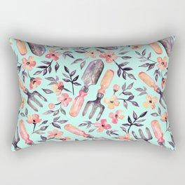 Spring Gardening - peach blossoms on mint Rectangular Pillow