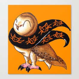 Happy Owl-o-Ween (Barn Owl) Canvas Print