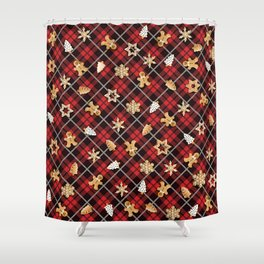 Gingerbread Red Shower Curtain