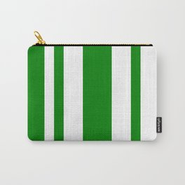 Mixed Vertical Stripes - White and Green Carry-All Pouch