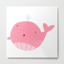 A tiny floating whale!  Metal Print