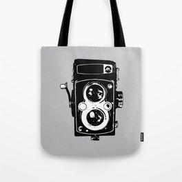 Big Vintage Camera Love - Black on Grey Background Tote Bag