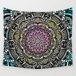 DETAILED CHARCOAL MANDALA (BLACK AND WHITE) WITH COLOR (PINK YELLOW TEAL) Wall Tapestry