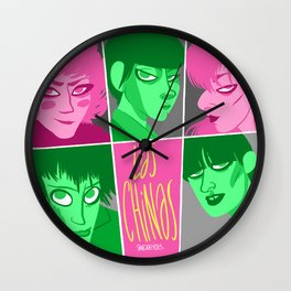 Las chinas rosa y gris Wall Clock