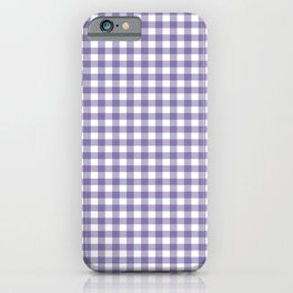 Plaid pattern lilac and white iPhone Case