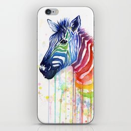 Zebra Watercolor Rainbow Animal Painting Ode to Fruit Stripes iPhone Skin