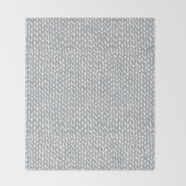 Hand Knit Light Grey Throw Blanket