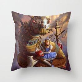 Sandra's Steampunk Alice in Wonderland Throw Pillow