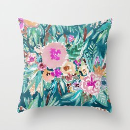 LESS IS BORE Colorful Tropical Floral Throw Pillow
