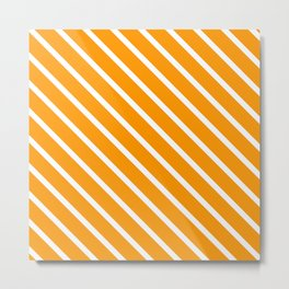 Neon Orange Diagonal Stripes Metal Print