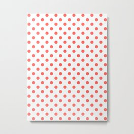 Small Polka Dots - Pastel Red on White Metal Print