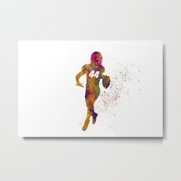 American football player in watercolor 27 Metal Print
